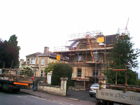 Scaffolding on a residential property